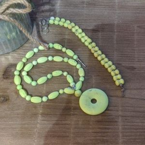 Lime green necklace with bracelet